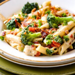 Cheesy Chicken Bacon Ranch Pasta (Lightened Up!)