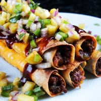 Cheesy Hawaiian BBQ Beef Taquitos & Pineapple Salsa