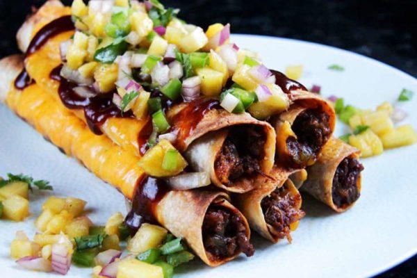 Cheesy Hawaiian BBQ Beef Taquitos & Pineapple Salsa
