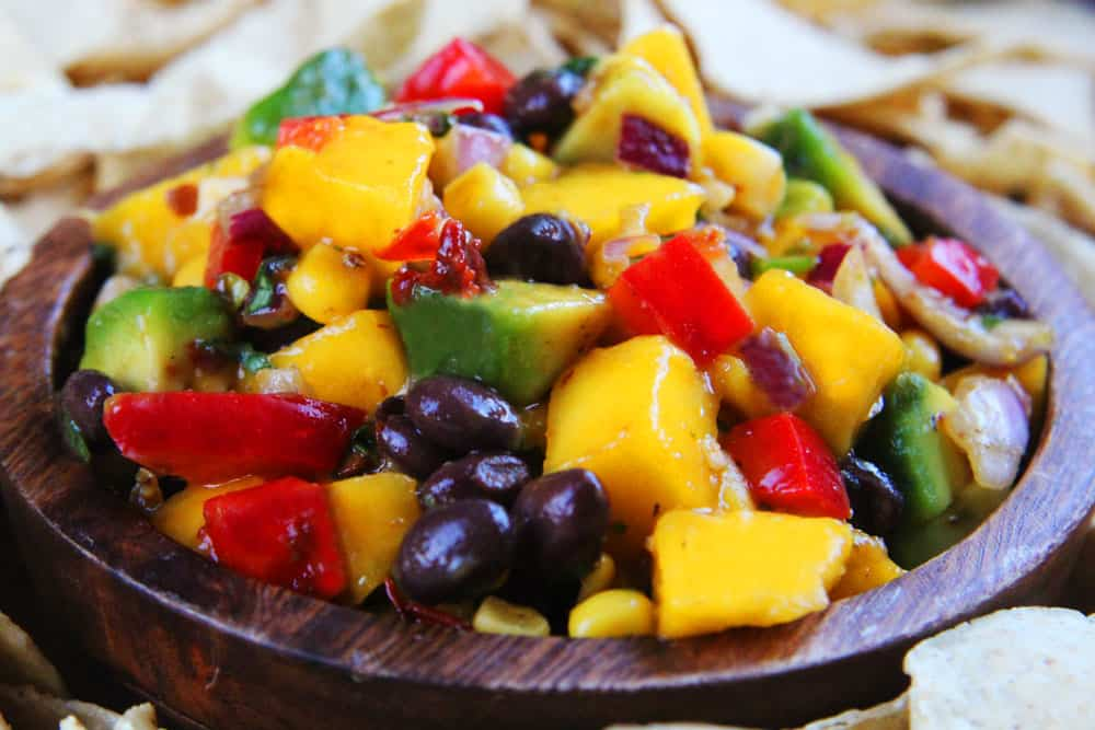 ... sweet corn and black beans brightened by lime juice and cilantro then