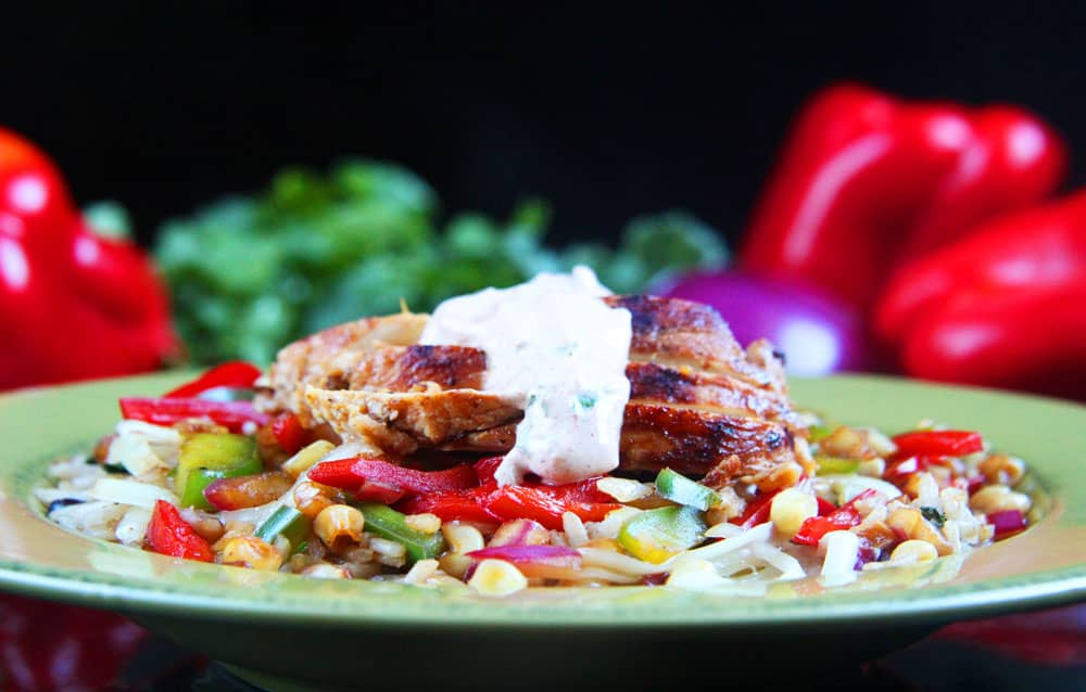 Honey Lime Chicken Fajita Bowls with Chipotle Lime Crema (2)