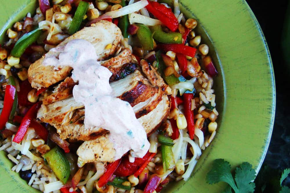 Honey Lime Chicken Fajita Bowls with Chipotle Lime Crema (6)