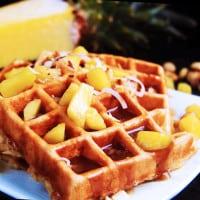 Hawaiian Waffles with Pineapple Coconut Syrup