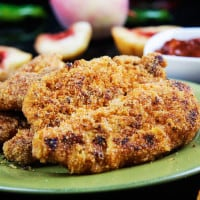 Spicy Cajun Cornmeal Chicken Tenders With Sweet Peach Barbecue Sauce