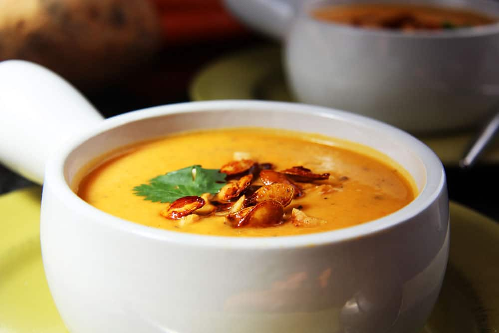 Thai Butternut Squash, Sweet Potato, Carrot Soup with Roasted Honey ...