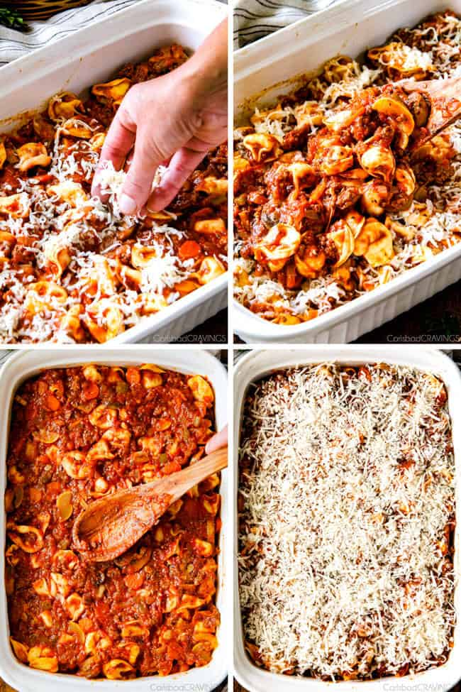 Cheesy Bolognese Tortellini Bake - This is my family's favorite pasta of all time - they BEG me to make it! The sauce is incredibly flavorful and the cheesiness can't be beat!