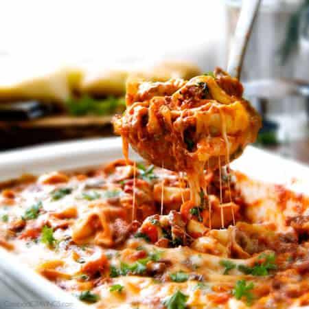 Cheesy Bolognese Tortellini Bake