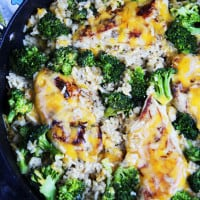 Apple Juice & Dijon Cheesy Chicken, Broccoli, Rice Skillet (30 min!)