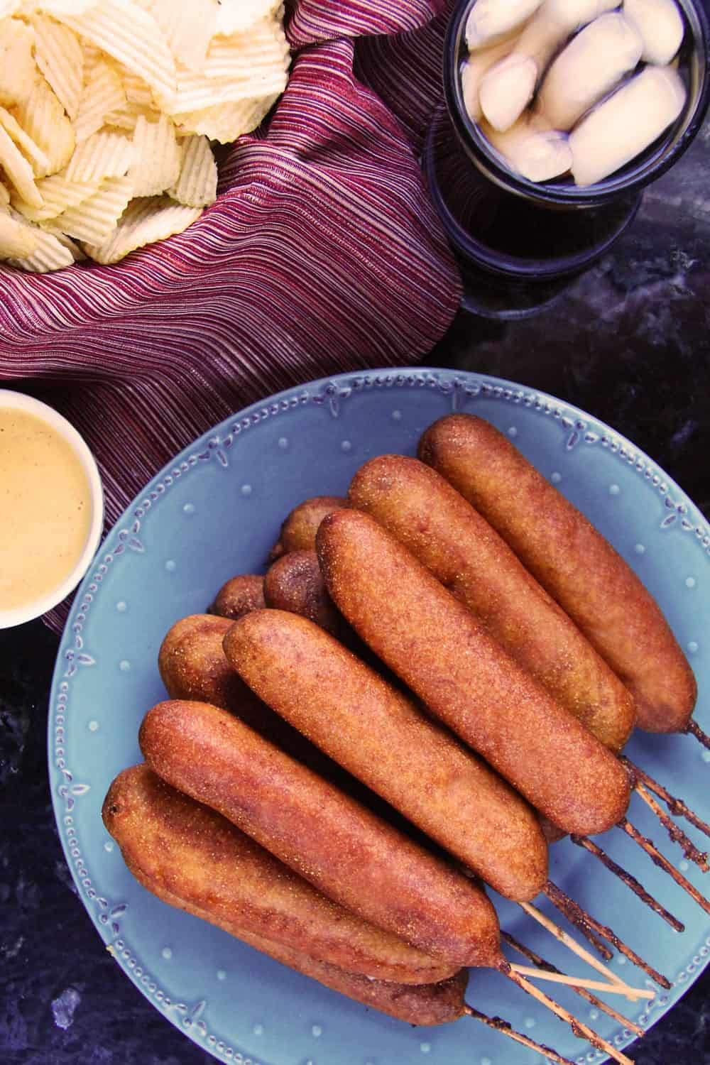 top view of easy corn dog recipe on a blue plate