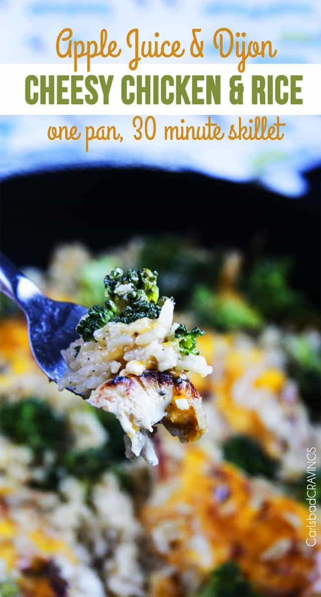 Cheesy Chicken, Broccoli, Rice Skillet image with a bite full on a fork.
