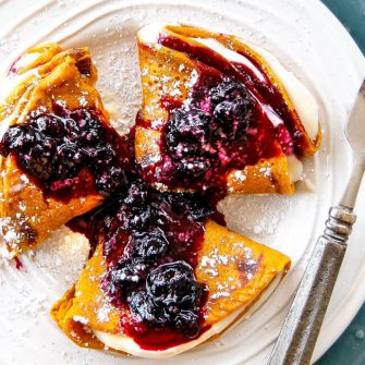 Brown Sugar Carrot Cake Crepes with Cream Cheese Filling and Blueberry Sauce