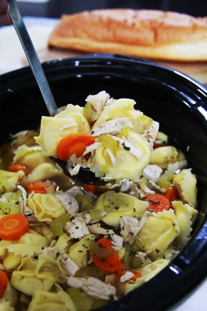 "Chunky Slow Cooker Tortellini Chicken ""Noodle"" Soup"