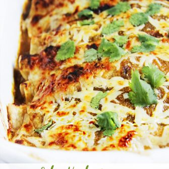 Honey Lime Salsa Verde Chicken Enchiladas