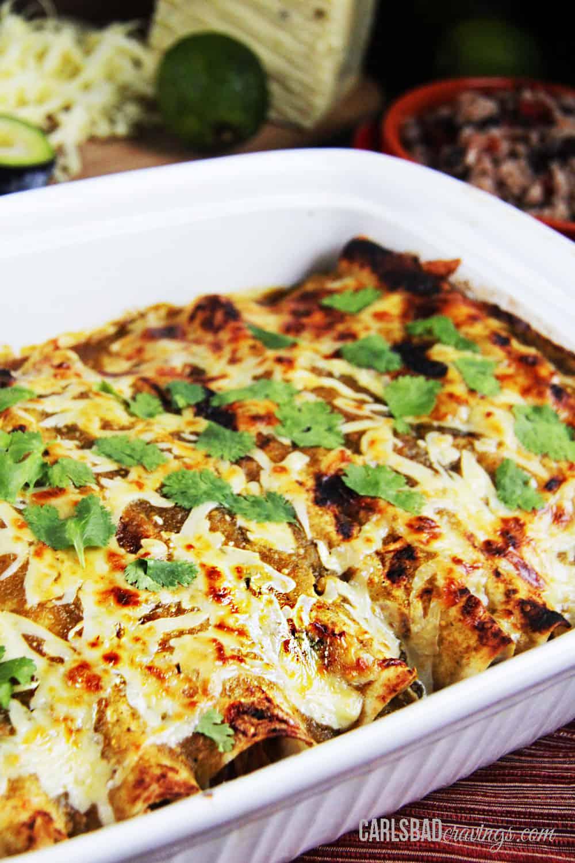 salsa verde chicken enchiladas with pepper jack cheese