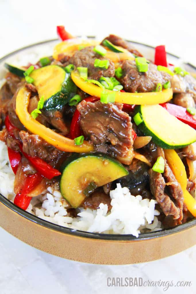 30 Minute Saucy Korean Beef Stir Fry | Carlsbad Cravings