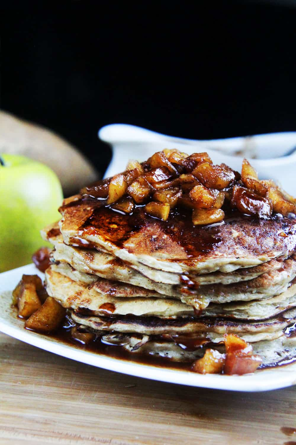 Sweet Potato Coconut Oatmeal Pancakes (with Cinnamon Apple Syrup)