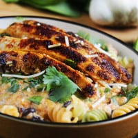 TexMex Creamy Roasted Red Pepper Pasta with Blackened Chipotle Chicken