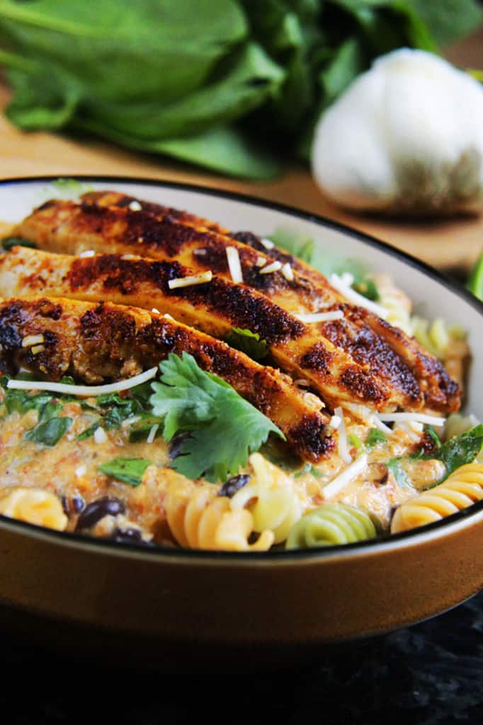 TexMex Creamy Roasted Red Pepper Pasta with Blackened Chipotle Chicken | Carlsbad Cravings