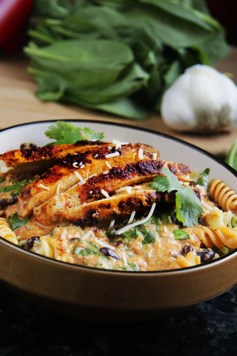 ... creamy goat cheese pasta with spinach and roasted mushrooms chipotle