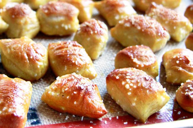 showing how to make Pretzel Bites by baking them on a nonstick mat
