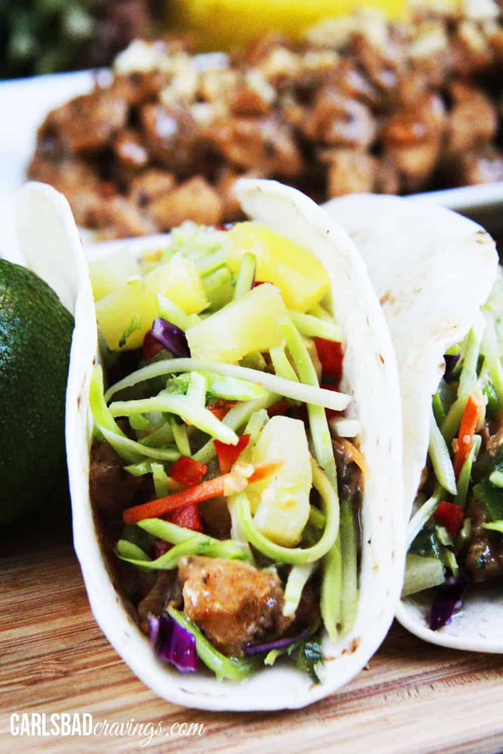 Thai Peanut Chicken Tacos with Pineapple Lime Cucumber Slaw | Carlsbad ...
