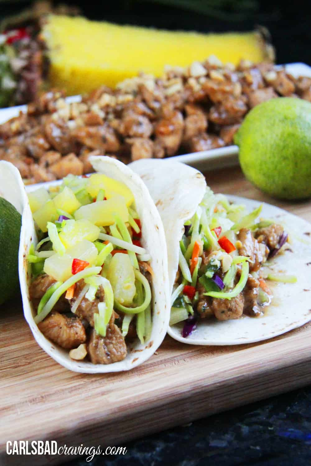 Thai Peanut Chicken Tacos with Pineapple Lime Cucumber Slaw - Carlsbad ...
