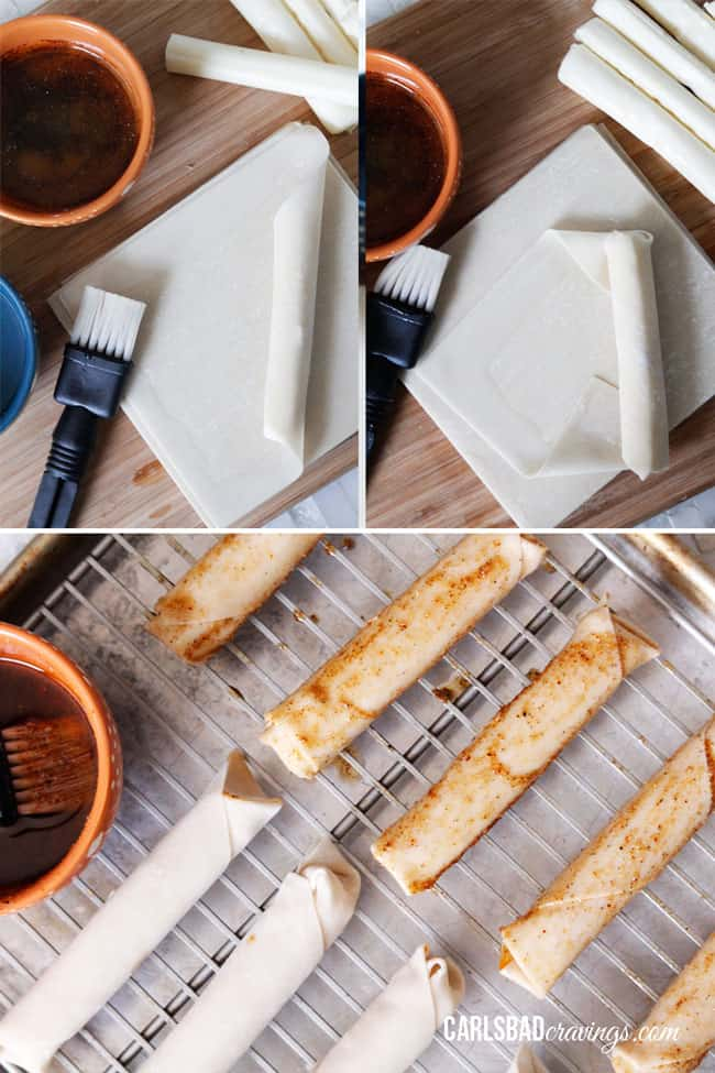 Showing how to make Mozzarella Sticks by wrapping dough around the cheese.