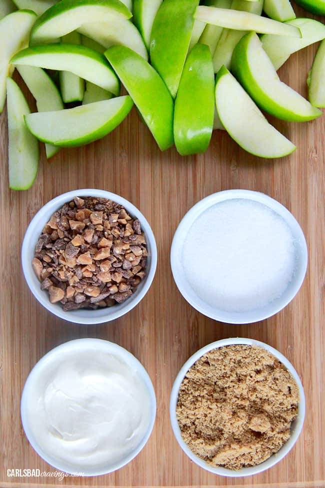 showing how to make Cream Cheese Apple Dip by lining up cream cheese, brown sugar, granulated sugar and toffee