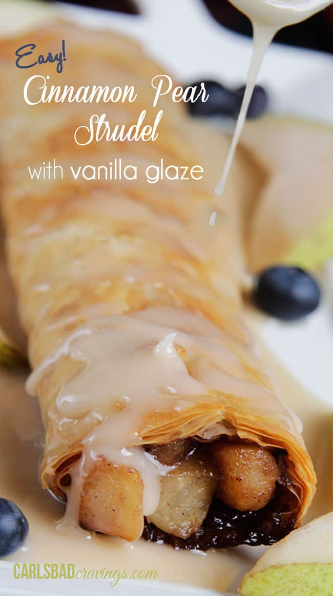up close of apple strudel made with phyllo dough