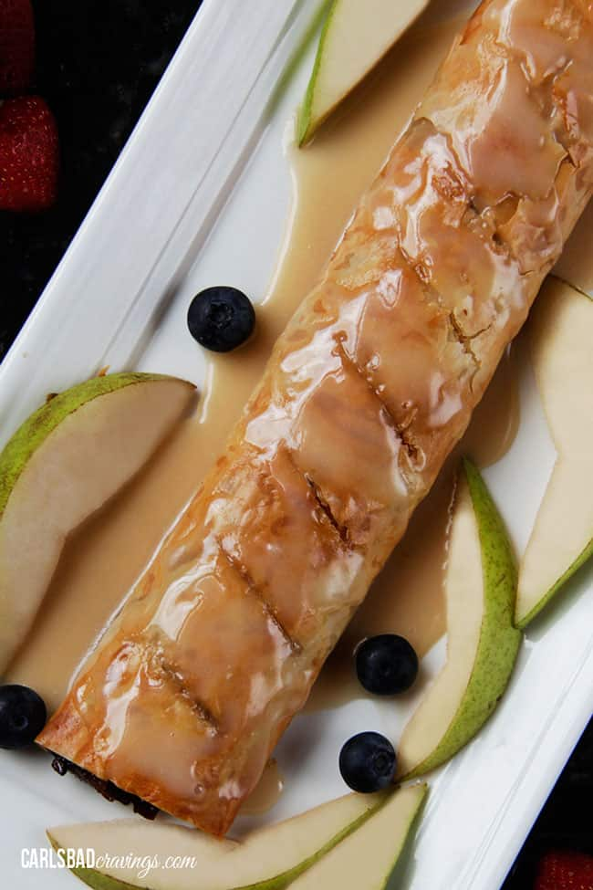 top view of German apple strudel recipe