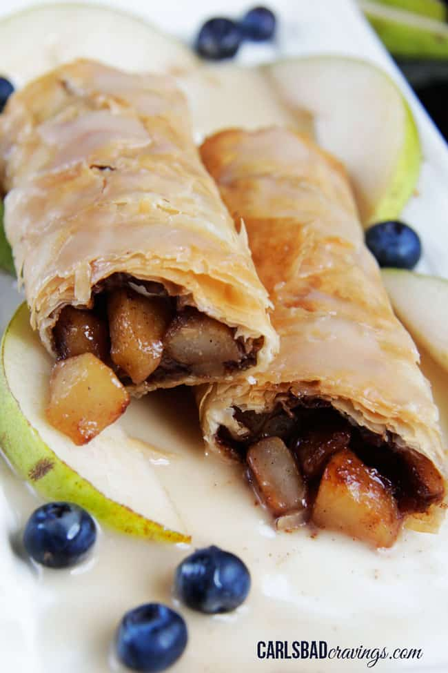 apple strudel recipe made with filo dough with apple filling