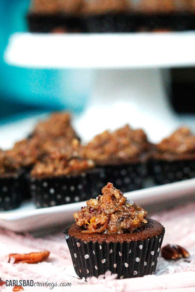 a plate of moist German Chocolate Cupcakes