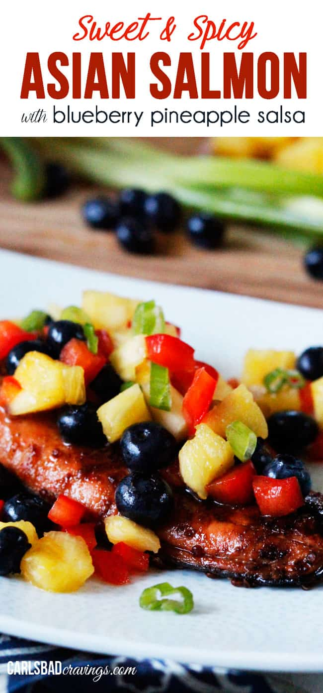 Cajun Salmon with Mango, Pineapple, Avocado Salsa