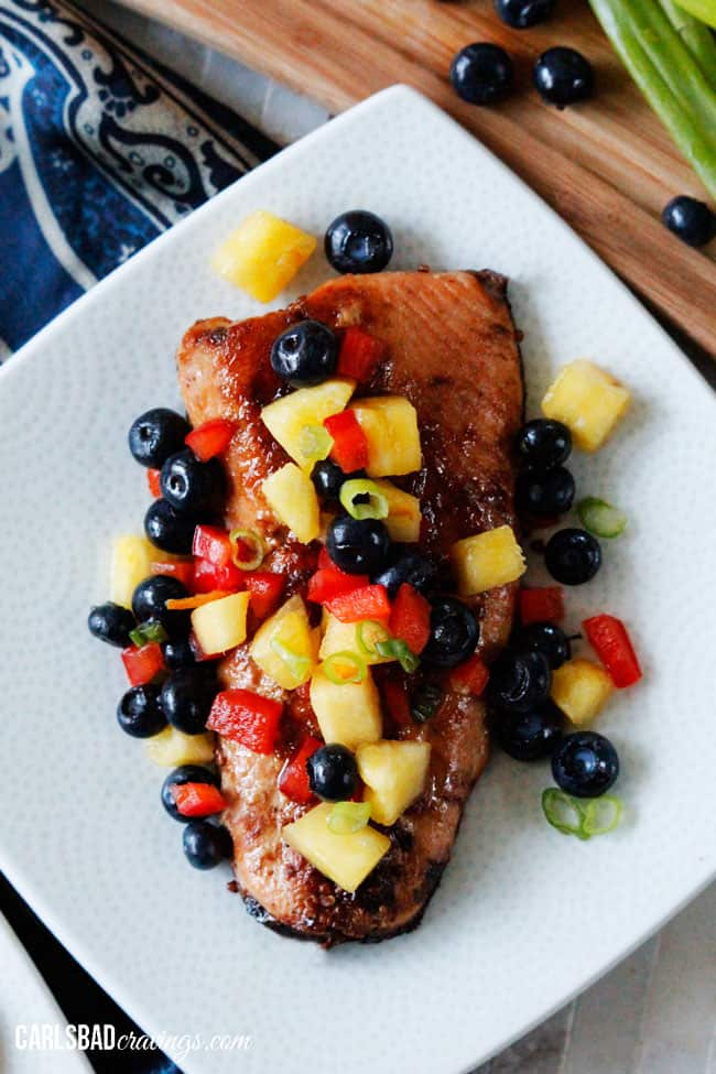 Sweet and Spicy Asian Salmon with Blueberry Pineapple Salsa - Carlsbad ...