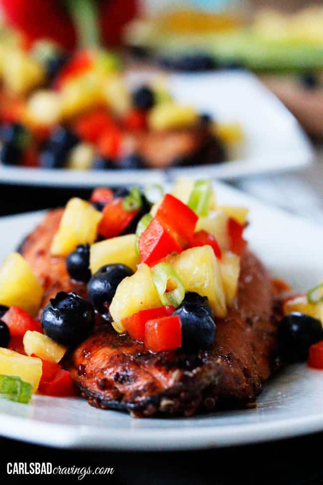 front view of Asian Salmon dinner with blueberry salsa