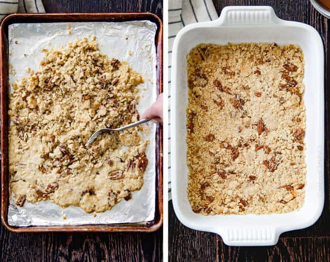 showing how to make ice cream cake by crumbling cookie dough in the bottom of a 9x13 pan