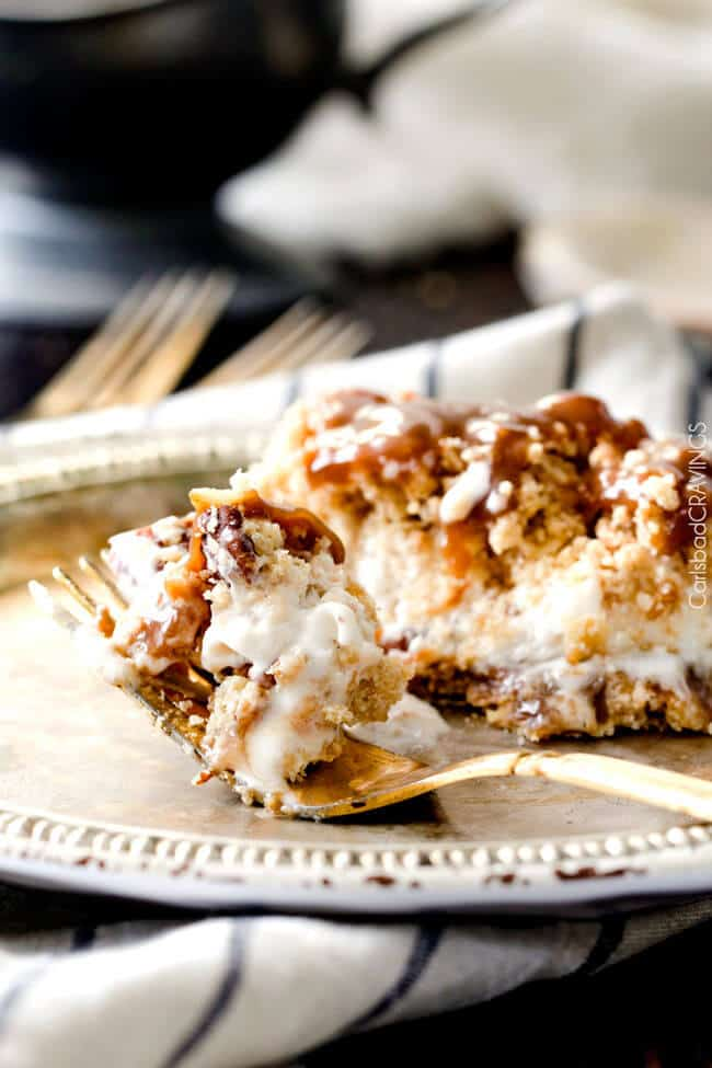 This Caramel Toffee Ice Cream Cake is amazing and so easy! I love the pecan cookie crumble and the caramel sauce is out of this world! Perfect make ahead dessert!