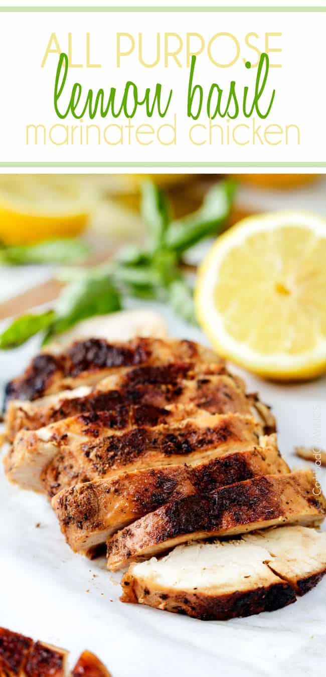 slices of juicy lemon herb chicken on a cutting board