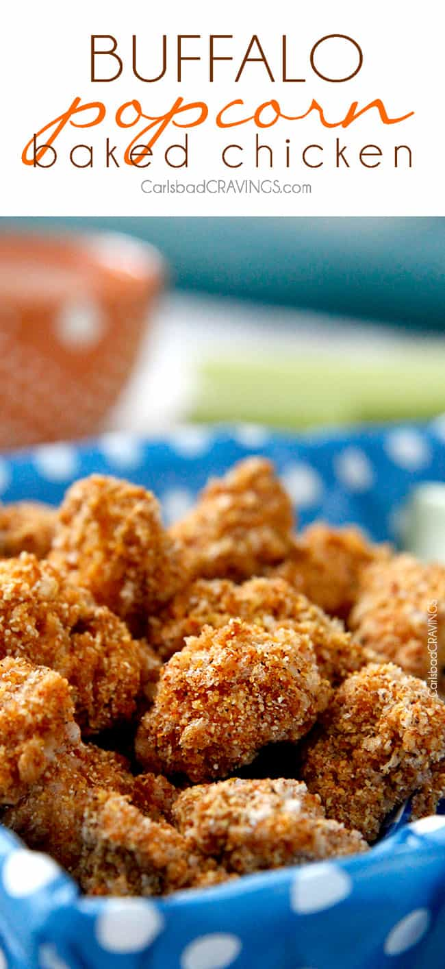 Baked Buffalo Popcorn Chicken are addictingly crispy, better than any chicken nugget! Dunked in buffalo sauce then baked with spiced panko and cornmeal. And the creamy dip is heavenly!