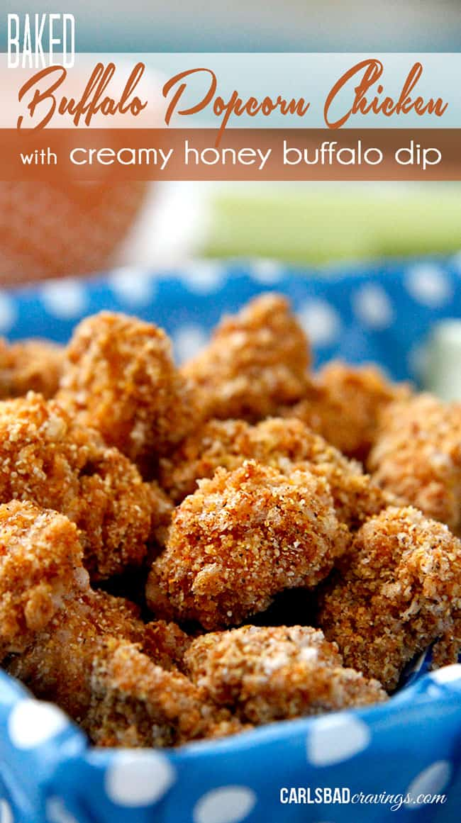 Buffalo Popcorn Chicken with Creamy Honey Buffalo Dip