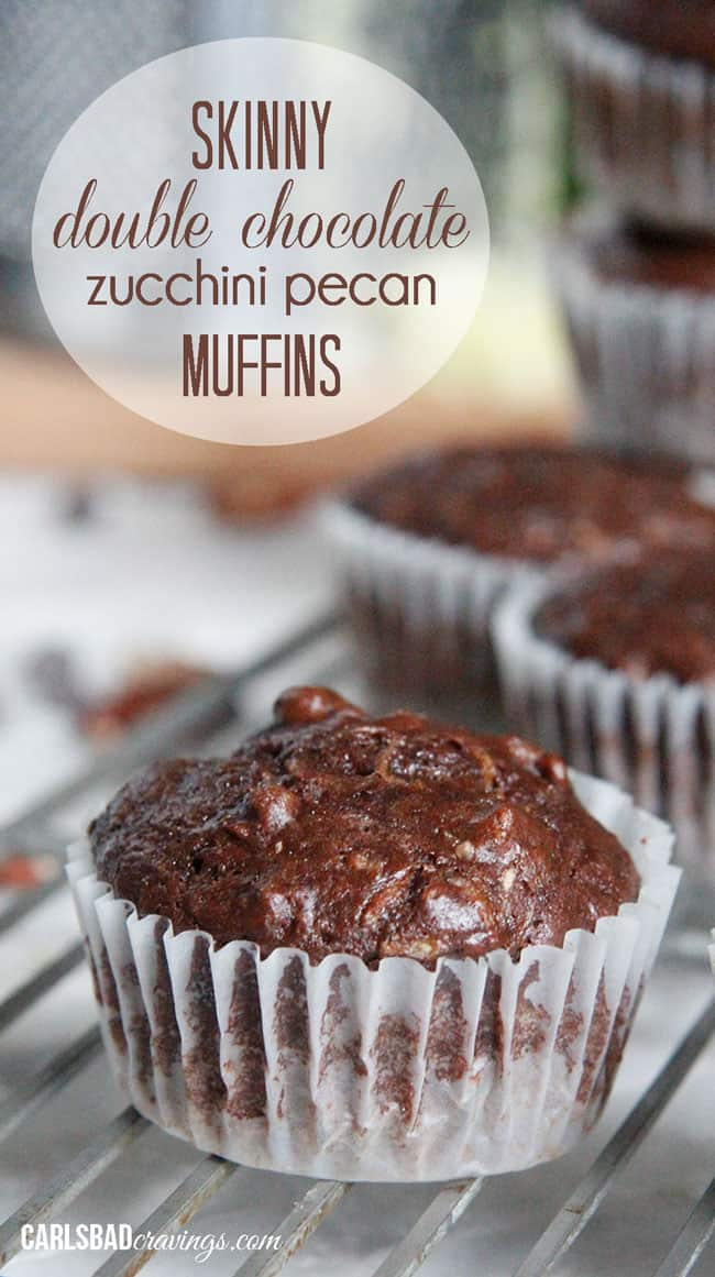 up close of healthy Chocolate Zucchini Muffins with chocolate chipis