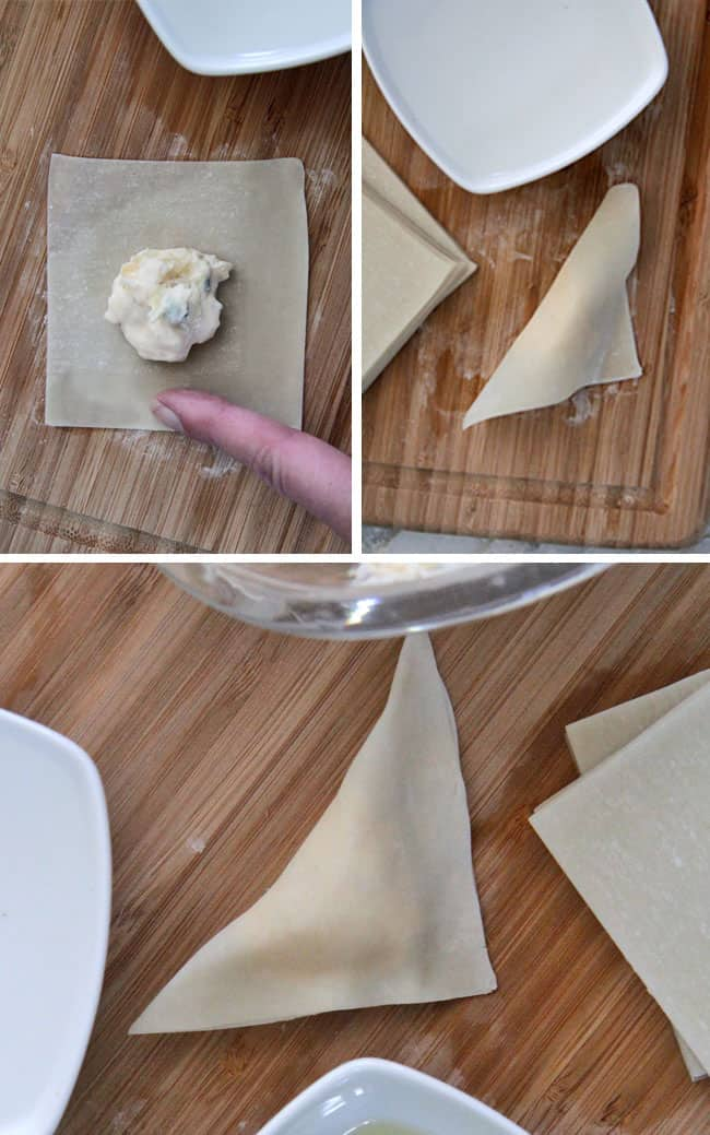 collage showing how to fold wontons by adding cream cheese to center of wrapper, folding over wrapper then pinching the edges