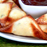 Baked Pineapple Coconut Cream Cheese Wontons with Pineapple Sweet and Sour Sauce