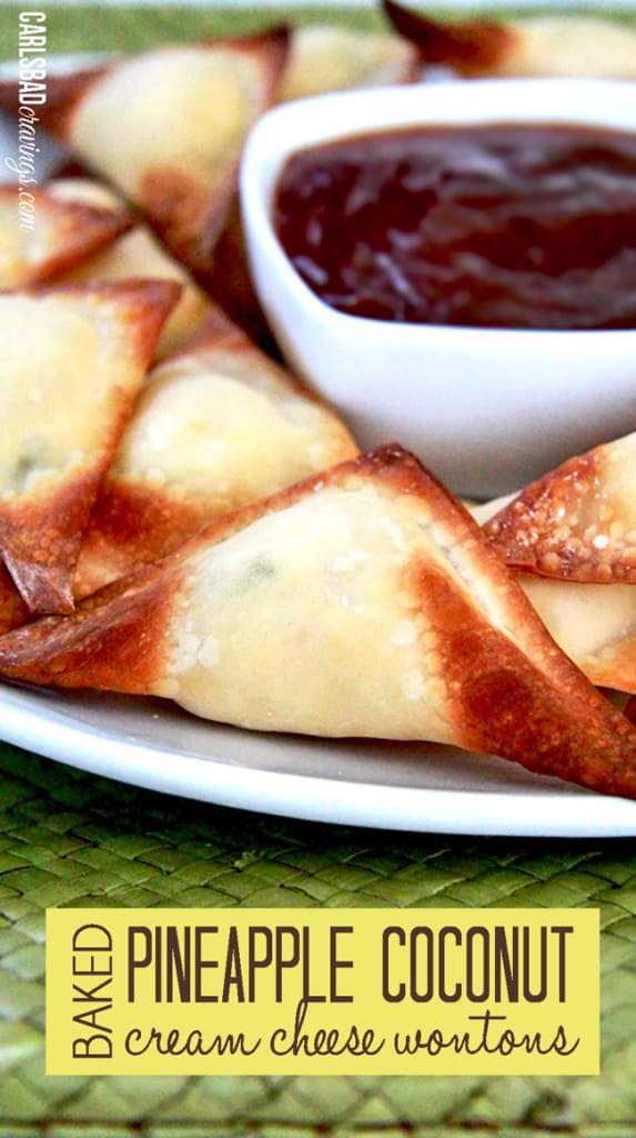 Baked Pineapple Coconut Cream Cheese Wontons with Pineapple Sweet and ...