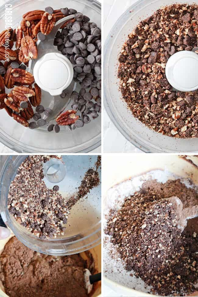 showing how to make Chocolate Zucchini Muffins by chopping chocolate chips and pecans in a food processor then adding them to the dry ingrediets