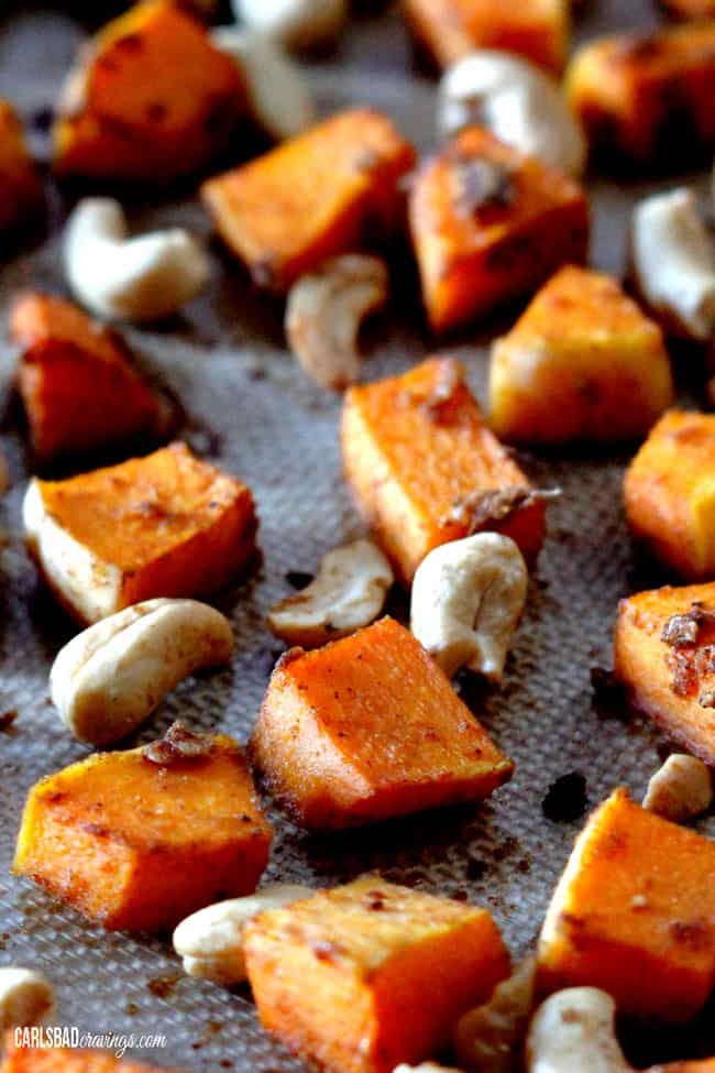 showing how to roast butternut squash by roasting squash in the oven
