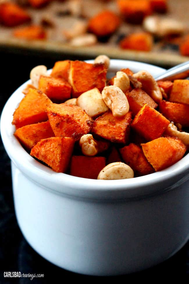 up close of easy roasted butternut squash recipe with cinnamon