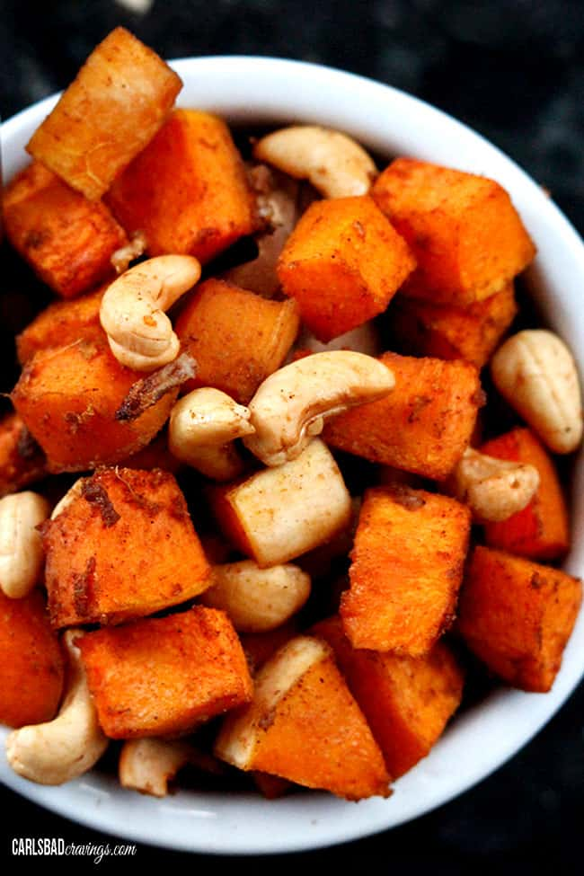 top view of roasted butternut squash cubes