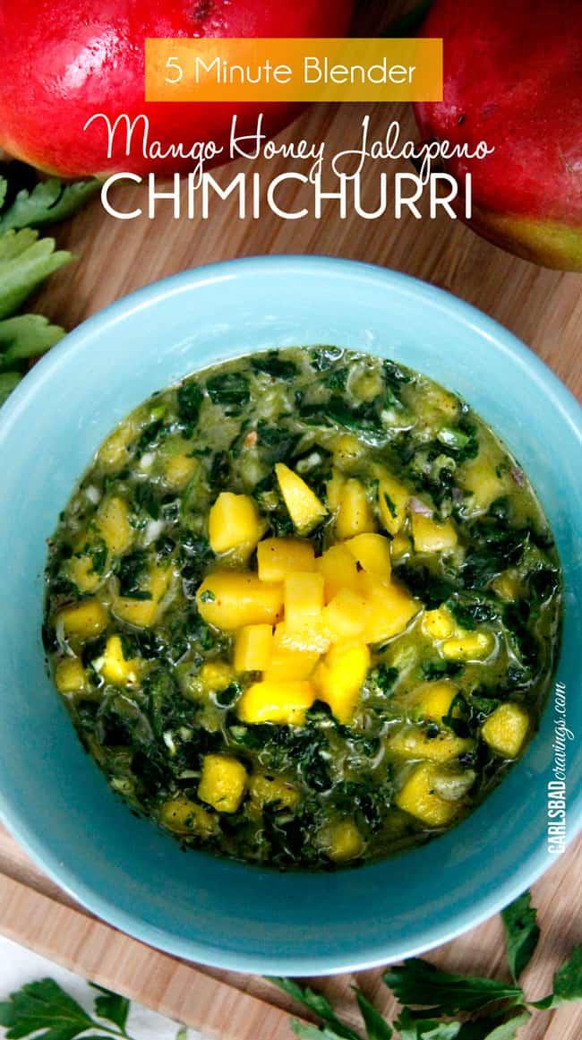 chimichurri sauce recipe in a teal bowl