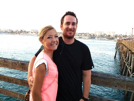 Patrick and me at the Oceanside Pier with my swollen cheeks and feet, July 2013